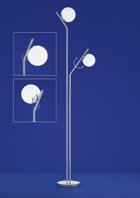 LED Stehlampe 2flammig aus Glas mit Tastdimmer
