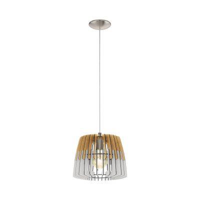 Pendelleuchte Holz Weissgrau E27 LED tauglich Ø 30cm Abhänghöhe 110cm Ø30cm