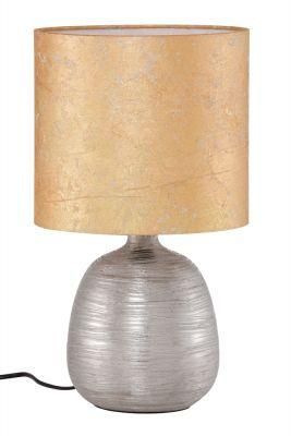 Tischleuchte Stoff Gold Silber Schalter Keramik Ø 22cm Höhe 40cm