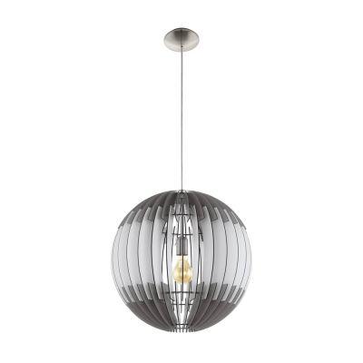 Große Pendelleuchte Holz Weiss Grau LED tauglich Ø 70cm Abhänghöhe 200cm