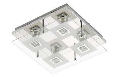 LED Deckenleuchte Chrom 4 Flammig GU10 Glas Metall 30 x 30 x 9cm Eckig