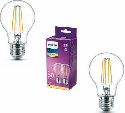 Philips LED Leuchtmittel 2er Set E27 Birnenform 806lm Warmweiß 7W = 60W
