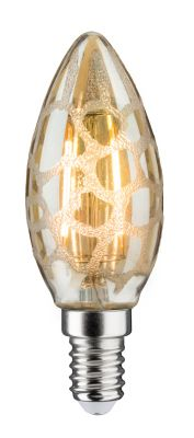 Paulmann LED Kerzenlampe 230V E14 Leuchtmittel 2,5W Krokoeis Gold Warmweiß