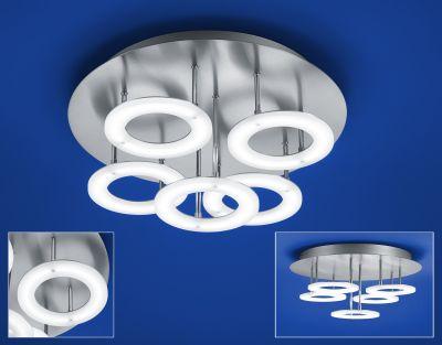 Deutsche LED Deckenleuchte 48W/230V Nickel Matt Chrom 4250lm Dimmbar Ø40cm