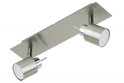 LED Deckenleuchte Nickel matt 2 Flammig Drehbar Schwenkbar GU10