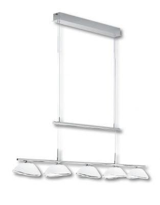 Deutsche Hängeleuchte Chrom Höhenverstellbar 5 Flammig Glas B1,2m H 1,5m