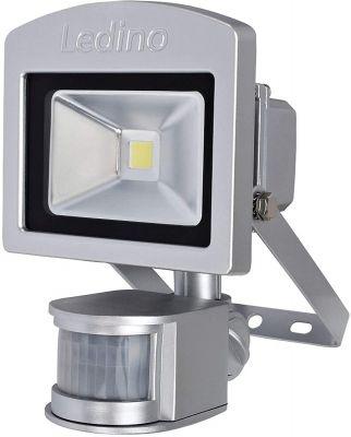 Ledino LED-Strahler Silber 10W Bewegungsmelder 3000K Alu IP44
