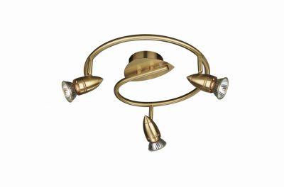 Goldene Deckenspirale Comet mit drei verstellbaren Leuchten für eine optimale Ausleuchtung.