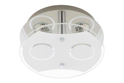 LED Deckenleuchte Chrom 2 Flammig GU10 Glas Rund Durchmesser 21cm
