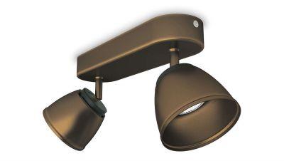 Philips LED 2x4W/230V Deckenleuchte Bronze Metall 660lm Schwenkbar Strahler