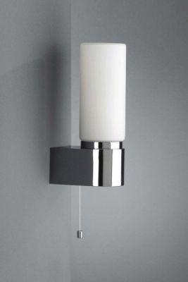 Badezimmerleuchte Aqua  Steckdose Silber  Glas Spiegelleuchte Zugschalter