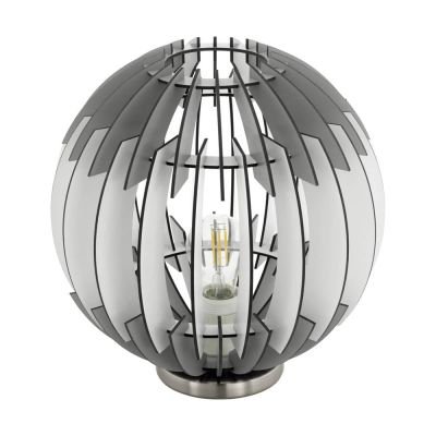 Tischleuchte Holz Weiss Grau LED tauglich Ø 30cm Höhe 31,5cm
