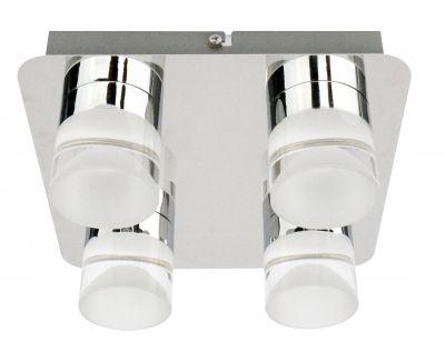 Elegant designte LED Deckenleuchte 4 flammig - Moderne chromfarbene Oberfläche - Reduziert - Schnelle Lieferung