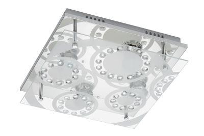 LED Deckenleuchte Chrom 4 Flammig Kristalle GU10 sat. Glas 30 x 30cm Eckig