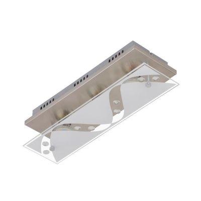 LED Deckenleuchte Nickel matt 3 Flammig Dekorglas GU10 austauschbar 1200lm