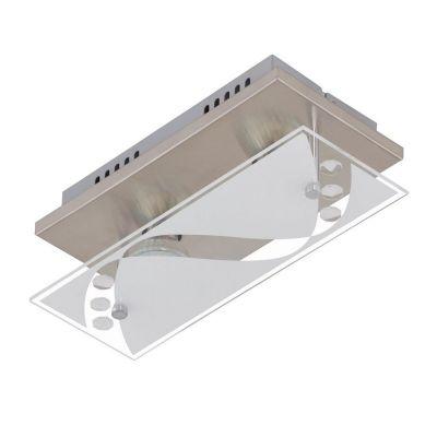 LED Deckenleuchte Nickel matt 2 Flammig Dekorglas GU10 austauschbar 800lm