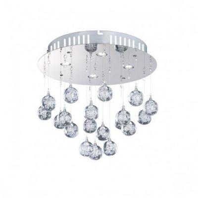 Wofi LED Deckenleuchte Glam 4 flammig Chrom Glasbehang Deckenlampe Design