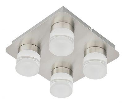 LED Deckenlampe Metall 4x LED je 5W/230V Silber Stahl gebürstet 22x22x9,5cm