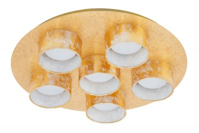 Briloner Deckenleuchte 6 Flammig Gold Metall Stoff Ø 42cm