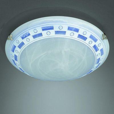 Deckenleuchte Rustikal Glas Blau Durchmesser 30cm E27