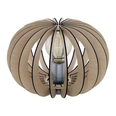 Tischleuchte Holz Hellbraun Schalter Tischlampe LED tauglich Ø 30cm