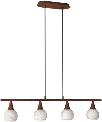 Pendelleuchte Energiespar 4 Flammig E14 Braun Dekorglas 80cm LED tauglich