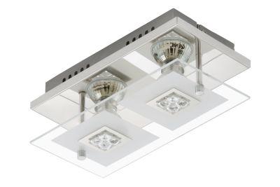 LED Deckenleuchte Chrom 2 Flammig GU10 Glas Metall 24 x 12 x 9cm Eckig
