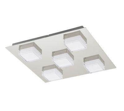 Deckenleuchte Eckig 5x LED je 2,5W 900lm Nickel Matt Warmweiß 37x37x5,5cm