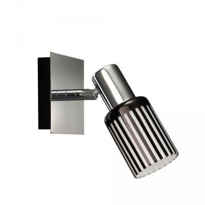 Energiespar Wandleuchte Spot Schalter Chrom Schwarz Dekorglas 10x10x10,5cm