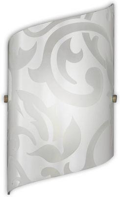Wandleuchte Ornamentdekor E14 Glas Weiß LED tauglich 24 x 13cm
