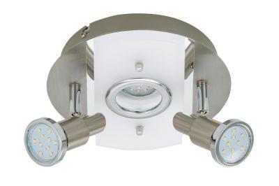 Runde LED Deckenleuchte Nickel matt 3 Flg Drehbar Schwenkbar Warmweiß Ø 20cm