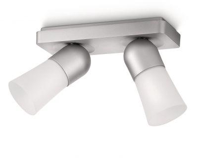 Eleganter zweiflammiger Decknspot von Philips Ecomoods im modernen Design aus Aluminium und Glas.