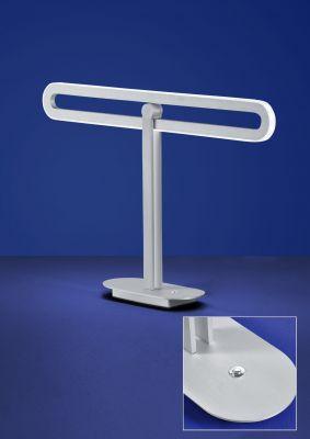 Deutsche LED 16W Tischleuchte Nickel Tastdimmer 1400 Lumen Höhe 33cm Metall