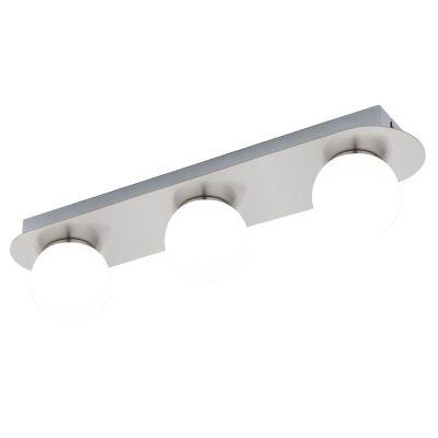 Deckenleuchte Badleuchte 3x LED je 3,3W Opalglas Nickel matt 45x11x10cm Warmweiß