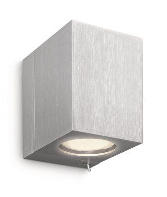 Energiespar Wandleuchte mit Schalter rotierend eckig 1x GU10 mit Leuchtmittel