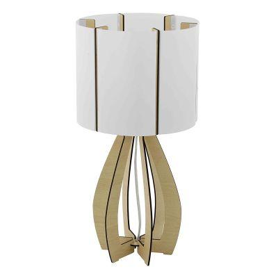 Tischleuchte Holz Hellbraun Schalter Tischlampe LED tauglich Ø 25,5cm Höhe 45cm