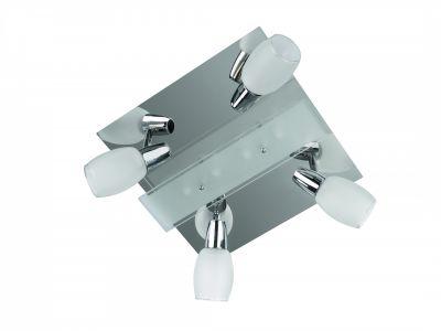 Deckenleuchte 8 Flammig Chrom Glas Silber 32 x 32cm Schwenkbar