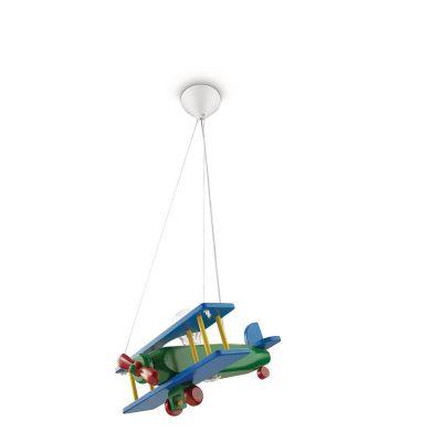 Philips Kinderzimmer Holzpendel Flugzeug Bunt E27 Holz LED tauglich