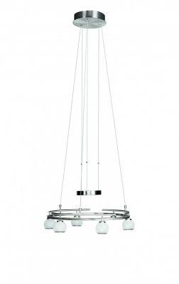 Pendelleuchte Hängeleuchte Höhenverstellbar 6 Flammig Halogen Silber Glas Ø 52cm