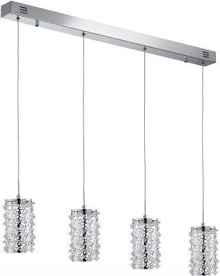 Honsel LED Pendelleuchte Chrom Kristalloptik 4 Flammig 1800lm 90cm