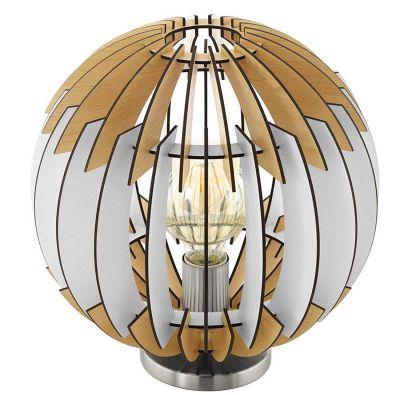 Tischleuchte helles Holz Weiss Grau LED tauglich 1 x E27 max. 60W/230V Ø30cm