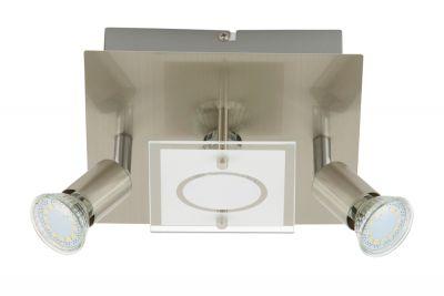 LED Deckenleuchte Nickel 3 Flammig GU10 Glas Metall Eckig Schwenkbar 20 x 20cm