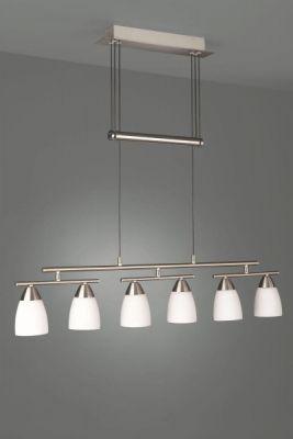Energiespar Glaspendel Silber Glas Pendelleuchte höhenverstellbar 6 Flammig