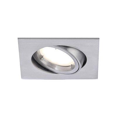 Eckige Einbauleuchte Alu gebürstet LED 5,5W/230V Dimmbar, Schwenkbar LxB 82x82mm