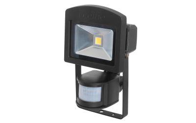 Ledino LED-Strahler Schwarz 10W Bewegungsmelder 3000K Alu IP44