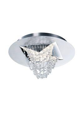 Deutsche LED Deckenleuchte Kristall Nickel matt Ø51cm Dimmbar 3900lm