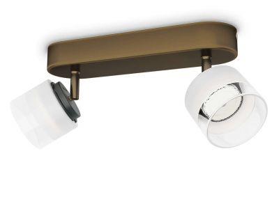 Philips LED 2 flammig Deckenleuchte Bronze 660lm Schwenkbar Spot Glas