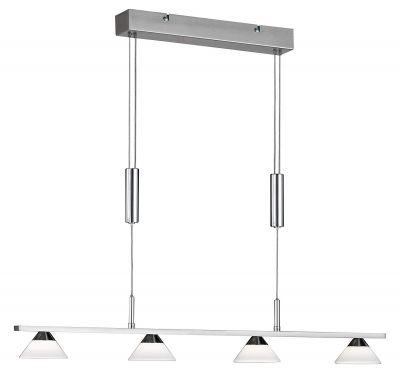 Hängeleuchte LED 4 Flammig Nickelmatt Glas 1880lm Höhenverstellbar