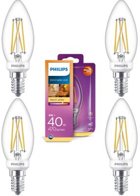 Philips LED Leuchtmittel Warmglow 4 Stück E14 Kerzenform 470lm Warmweiß Dimmbar 6W