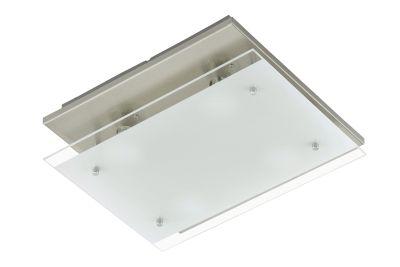 LED Deckenleuchte Nickel matt 4 Flammig GU10 Glas 33 x 30cm Eckig